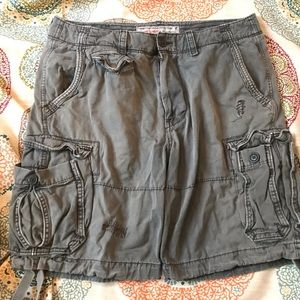 American Outfitters Grey Denim Cargo Shorts
